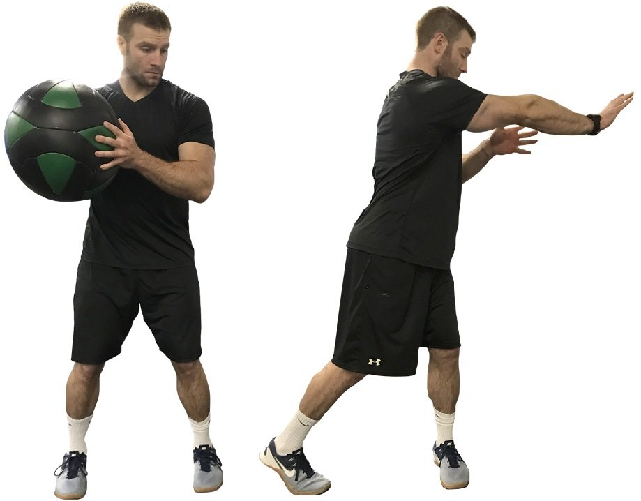 Medicine Ball - Twisting Chest Pass Right Foot Lead